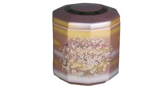 九谷焼 10角紫に白かすみ草